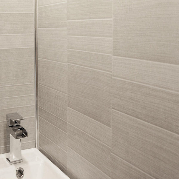 Light Grey Small Tile Effect Bathroom Wall Panels PVC 5mm Thick Cladding 2.6m x 250mm - Claddtech