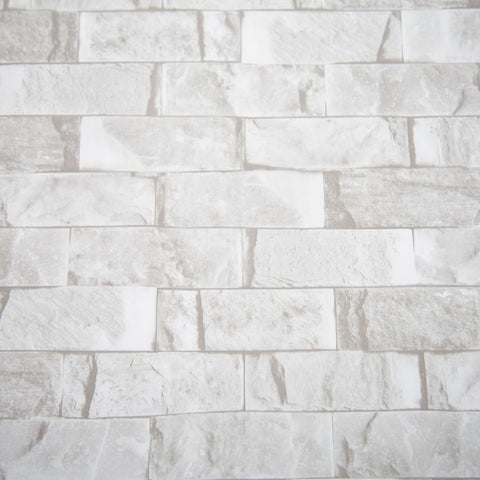 Polished White Grey Brick Shower Wall Panel 2.4m x 1m PVC Bathroom 10mm Cladding - Claddtech