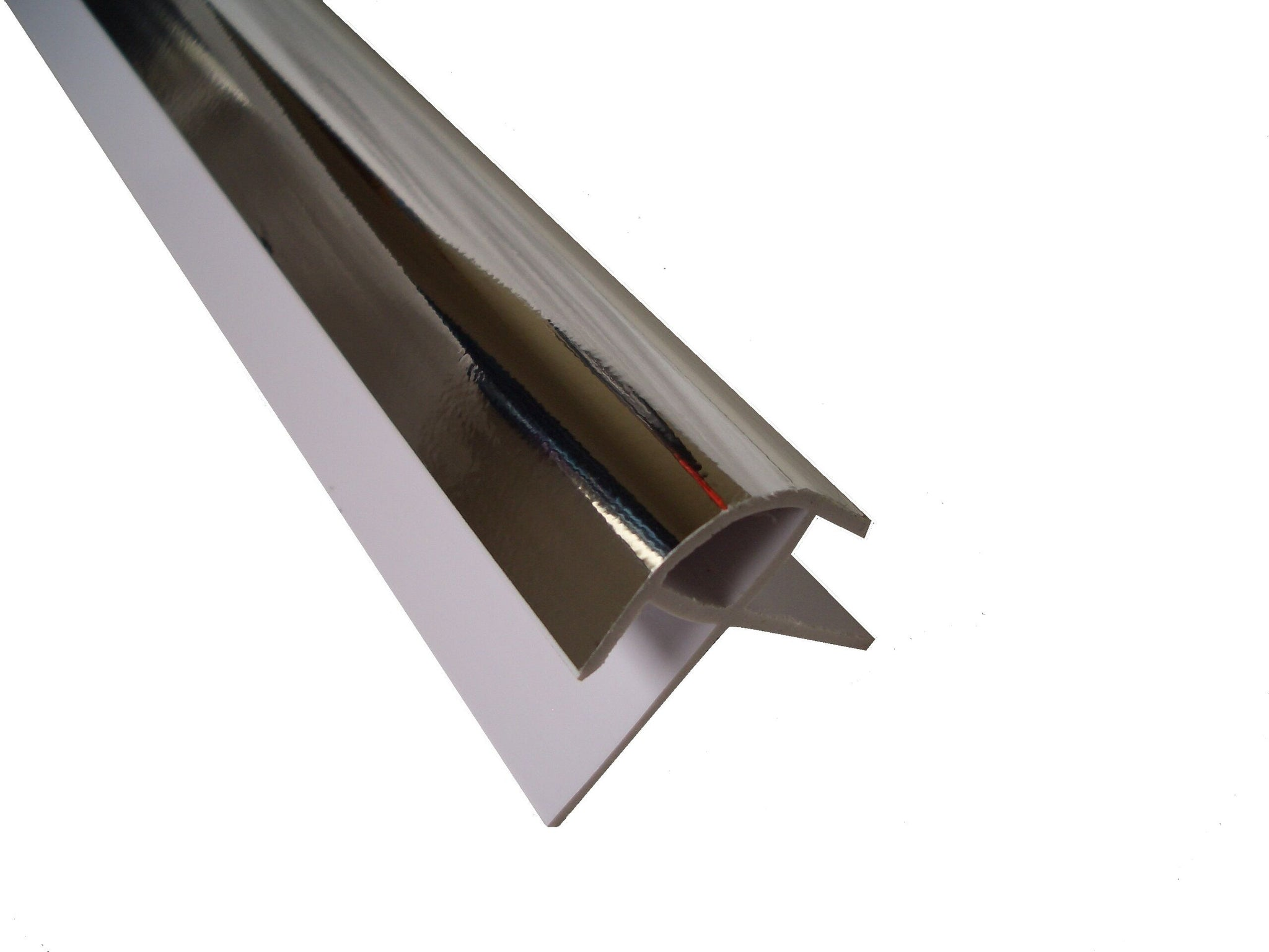 External Corner Trim Chrome Finish for 10mm Wall Panels 2.4m Long