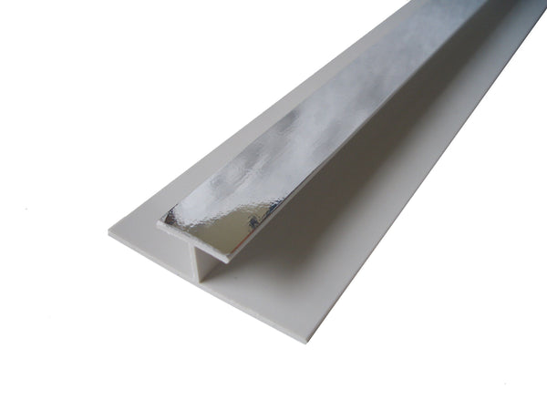 H Trim Chrome Finish 10mm For Cladding Wall Panels 2.4m Long
