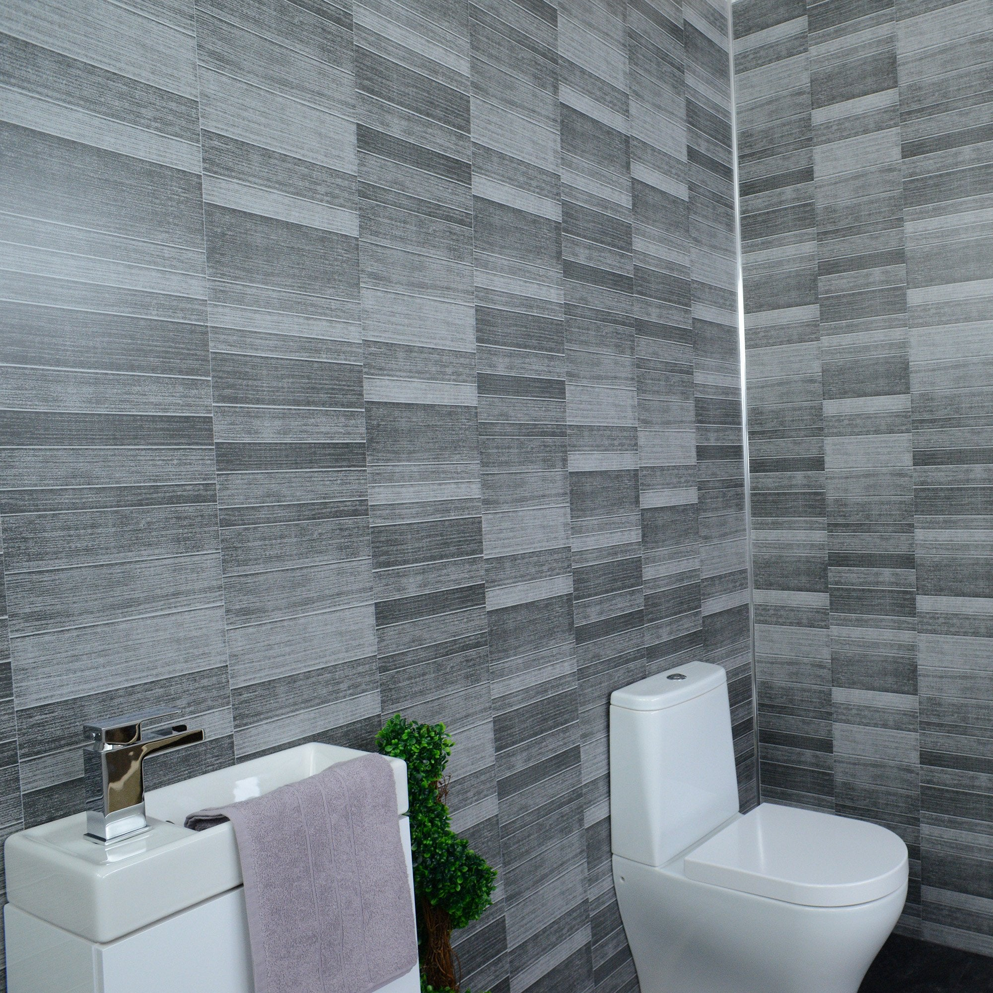 EOL Dark Grey Small Tile Bathroom Wall Panels PVC 8mm Thick Cladding (Box of 12 Panels) - CladdTech