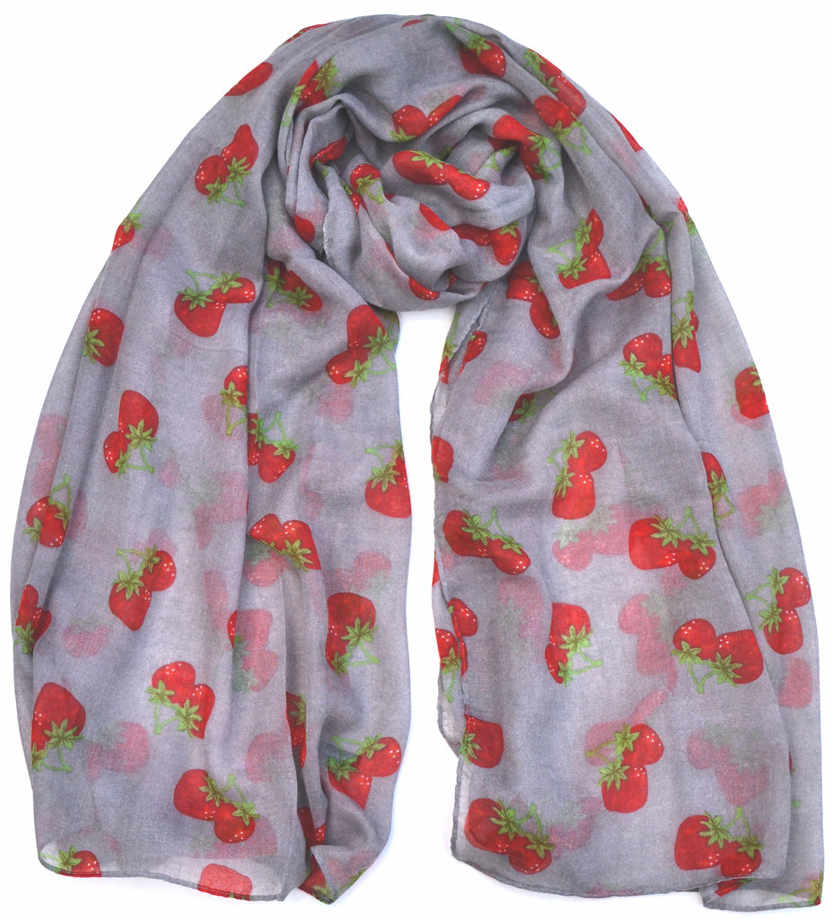Silver & Red Strawberry Print Scarf