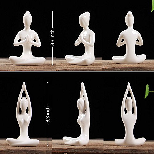 OwMell Lot of 6 Meditation Yoga Pose Statue Figurines