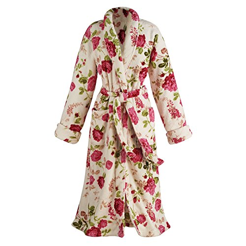 Women's Rose Print Long Robe - Floral Shawl Collar Bathrobe