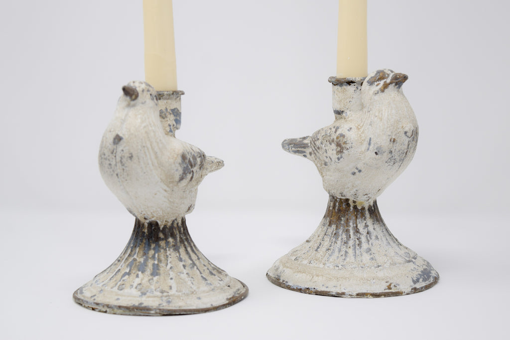 Shabby farmhouse metal candlestick holders