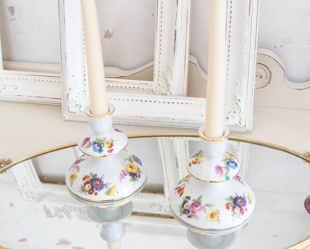 Gloria fine porcelain Bavaria, Bayreuth candle holders