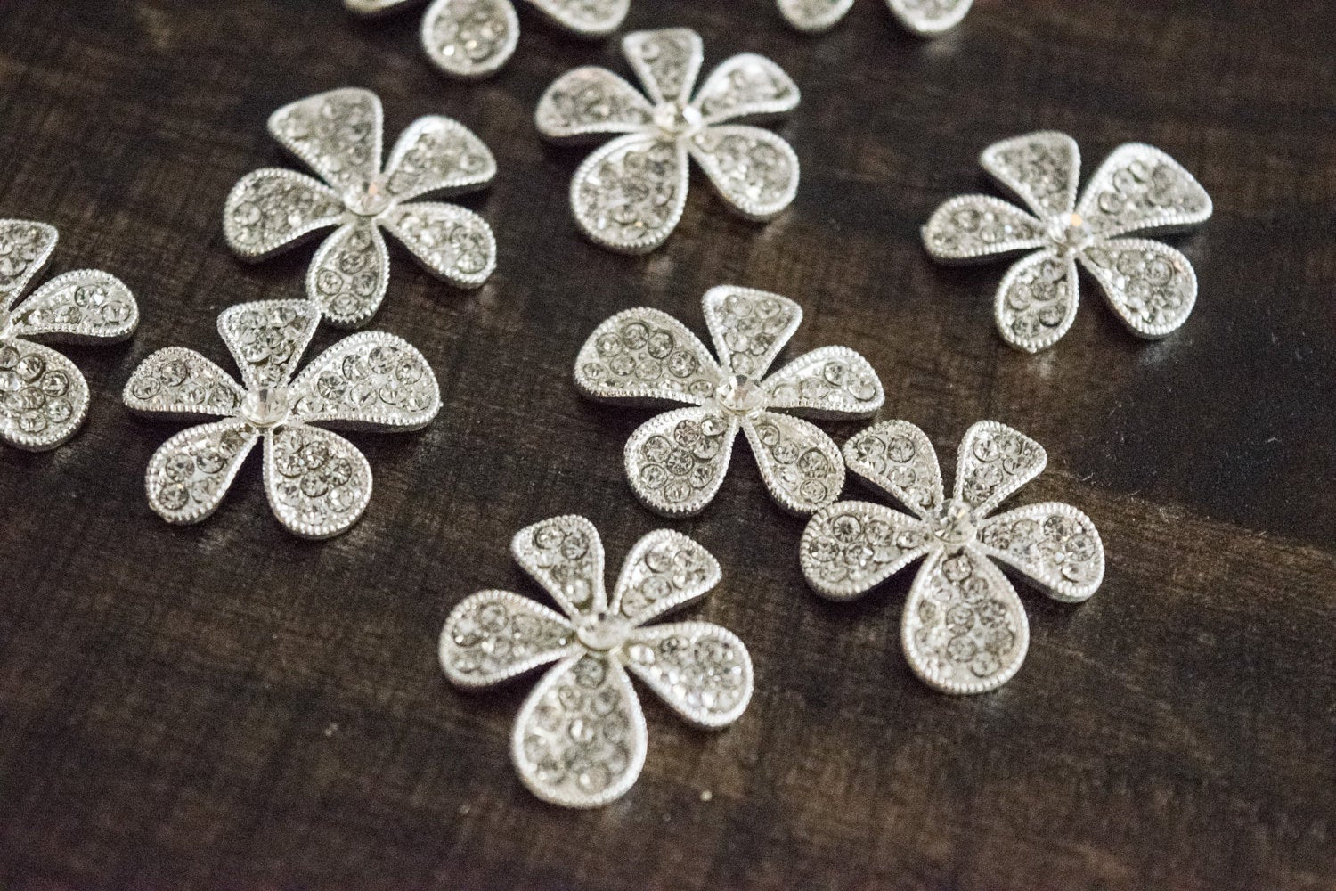 Flower metal rhinestone embellishments