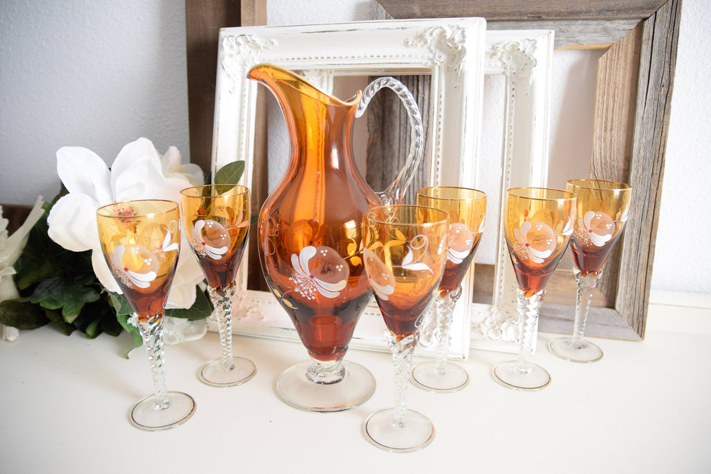 Hand painted Vintage wine decanter & glass set