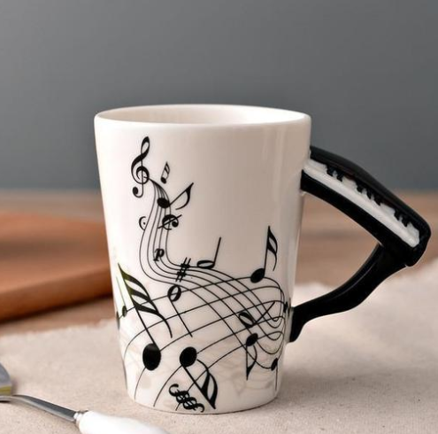 Best made mug Coffee cup with music notes