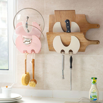 Wall-mounted pot rack with cutting board rack