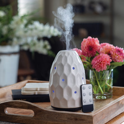 White Hexagon Spa Sounds Ultrasonic Diffuser - Simply Devine Gifts and Decor