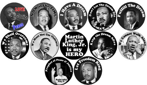 12pc MARTIN LUTHER KING JR 1.25