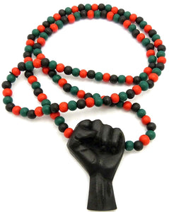 Black Power Fist All Natural Wood Pendant & Necklace