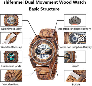 Vintage Digital Wood Watch