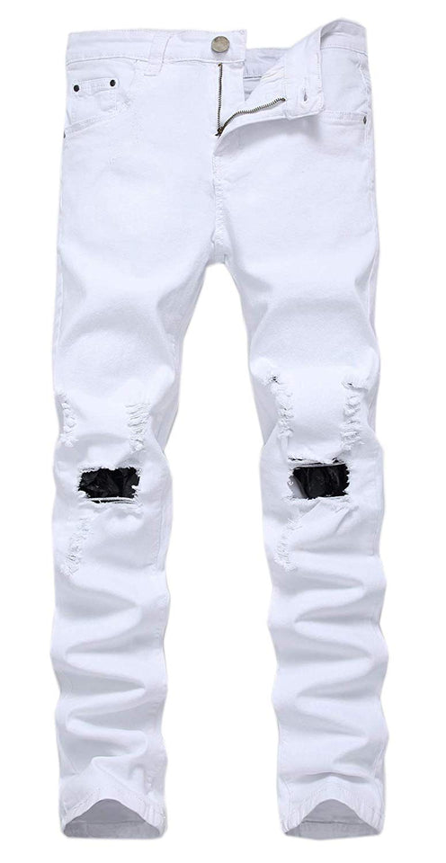 Men's Slim Fit Destroyed Ripped Jeans