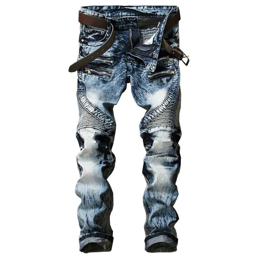 Men's Ripped Slim Straight Jeans