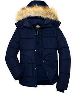 Men's Winter Puffer Coat Casual Fur Hooded Warm Outwear Jacket