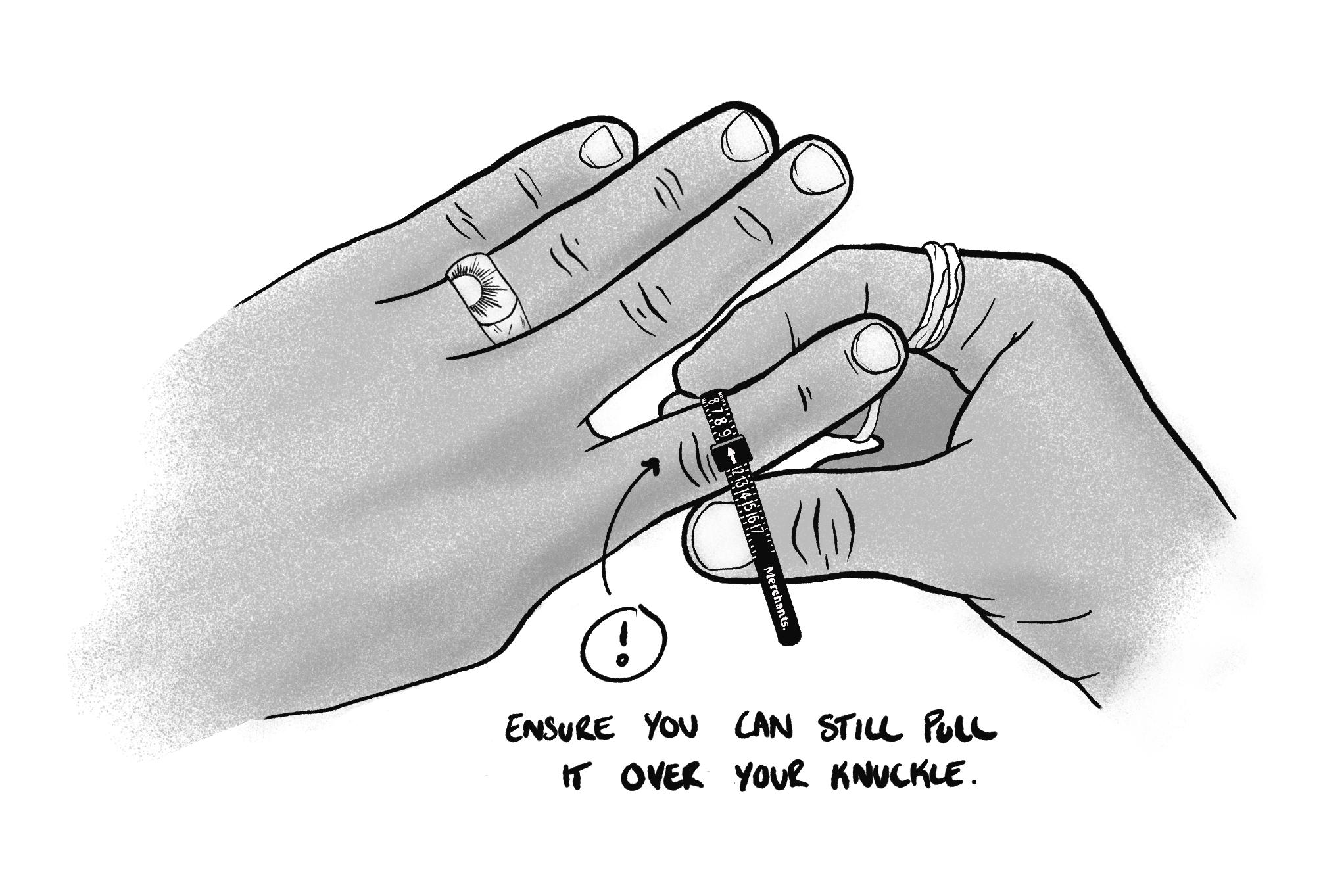 Drawing Of Ring Sizer Over Knuckle