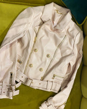 Load image into Gallery viewer, Blush Pink Leather Biker Jacket with Zip Detail
