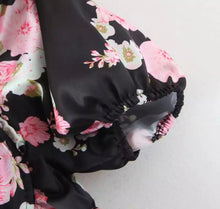 Load image into Gallery viewer, SALISHA Pre-Order Floral Print Black Mini Draped Dress