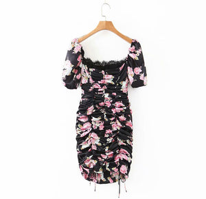 SALISHA Pre-Order Floral Print Black Mini Draped Dress