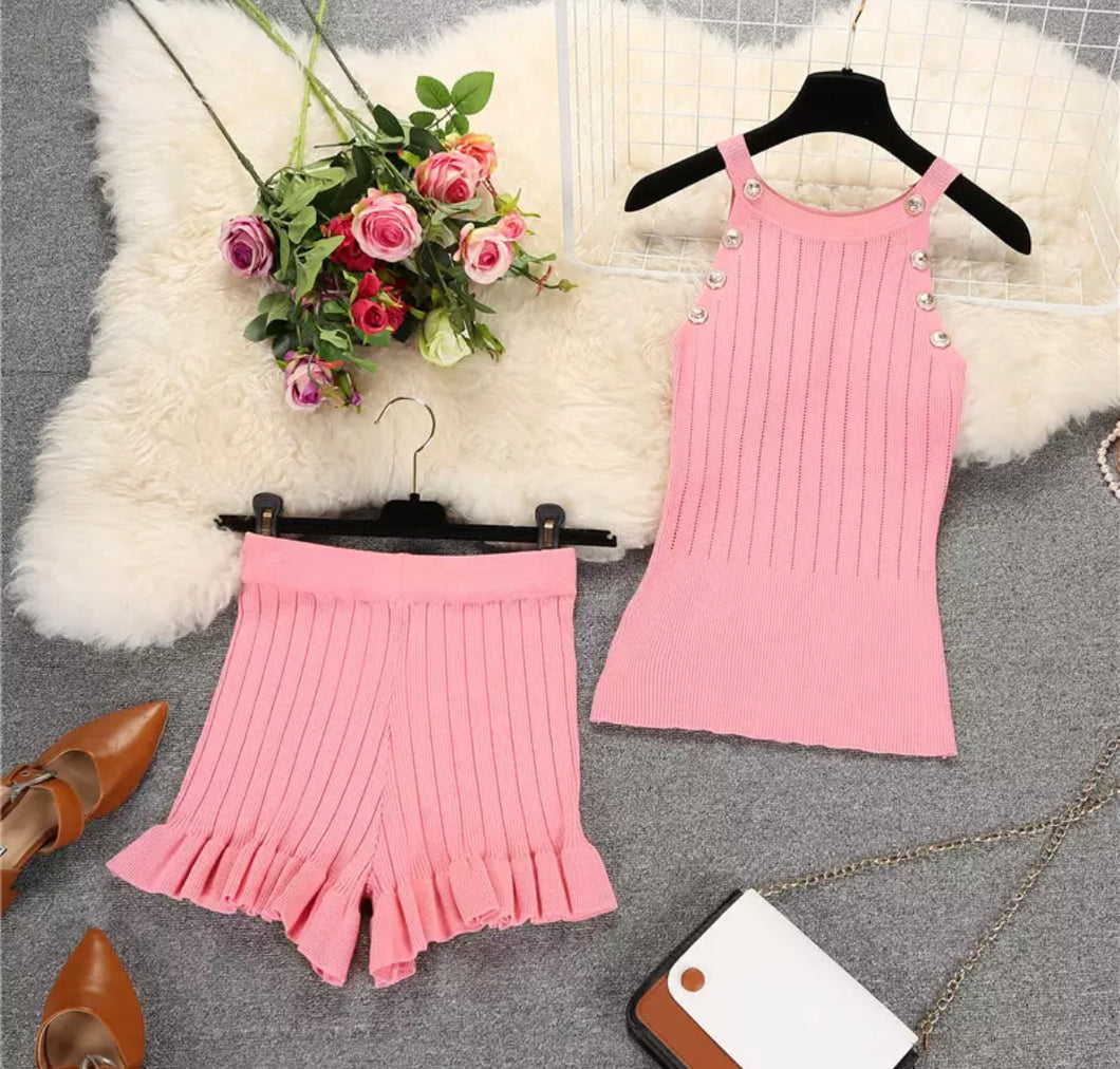 PRE-ORDER SASHA Pink Knit Lounge Two Piece