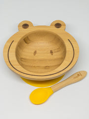 Spill-Free, Natural Bamboo Kids Bowl with Suction and Spoon - Comes in 6 different colours
