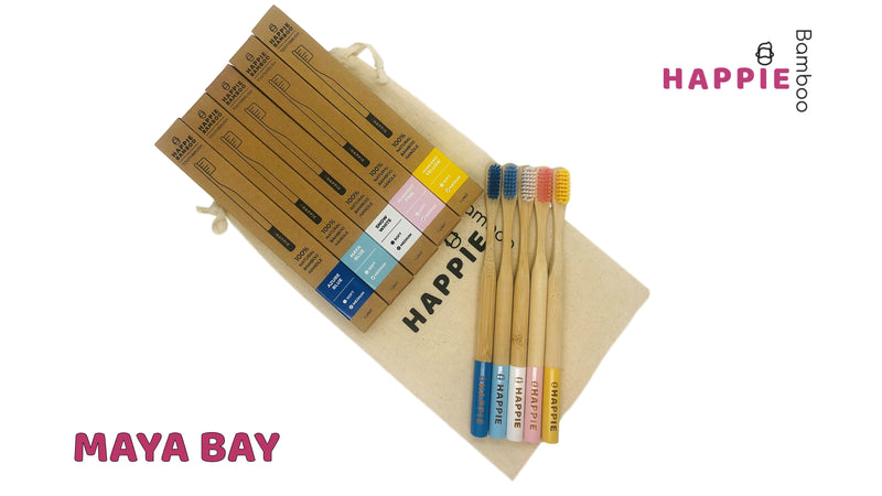5 Bamboo Toothbrushes - 6 Unique Combo's with Cotton Bag