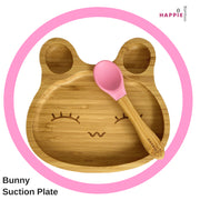 Spill-Free, Natural Bamboo Kids Plate with Suction and Spoon - Comes in 6 different colours