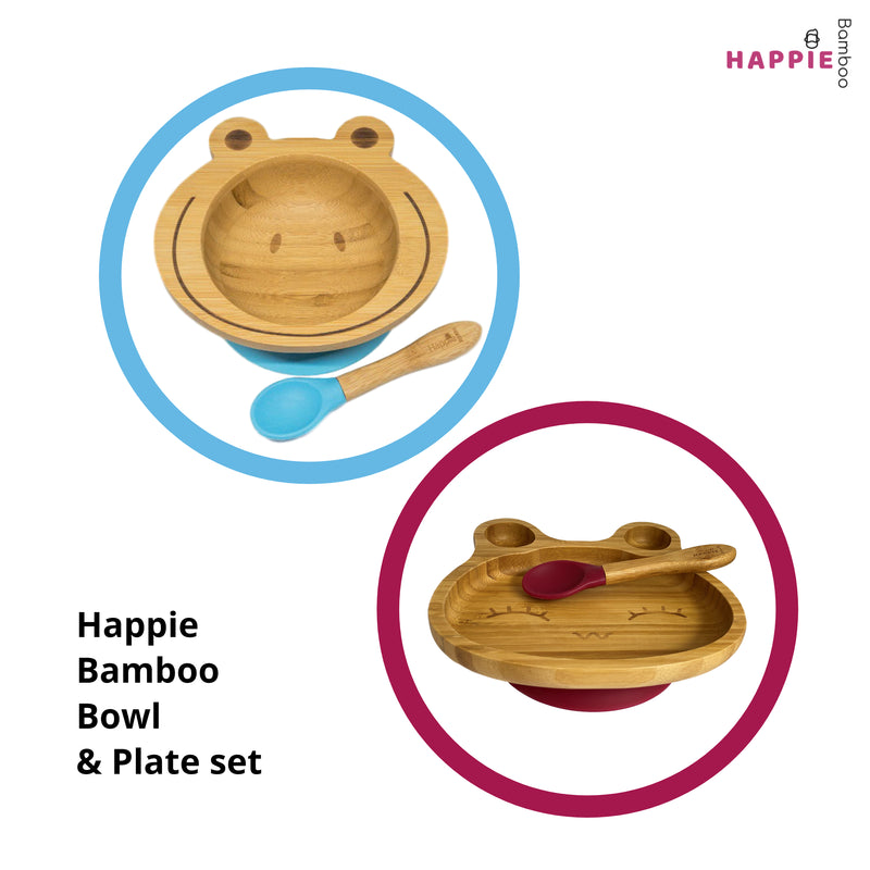 Spill-Free, Natural Bamboo Kids Bowl & Plate Set - Pick your colours