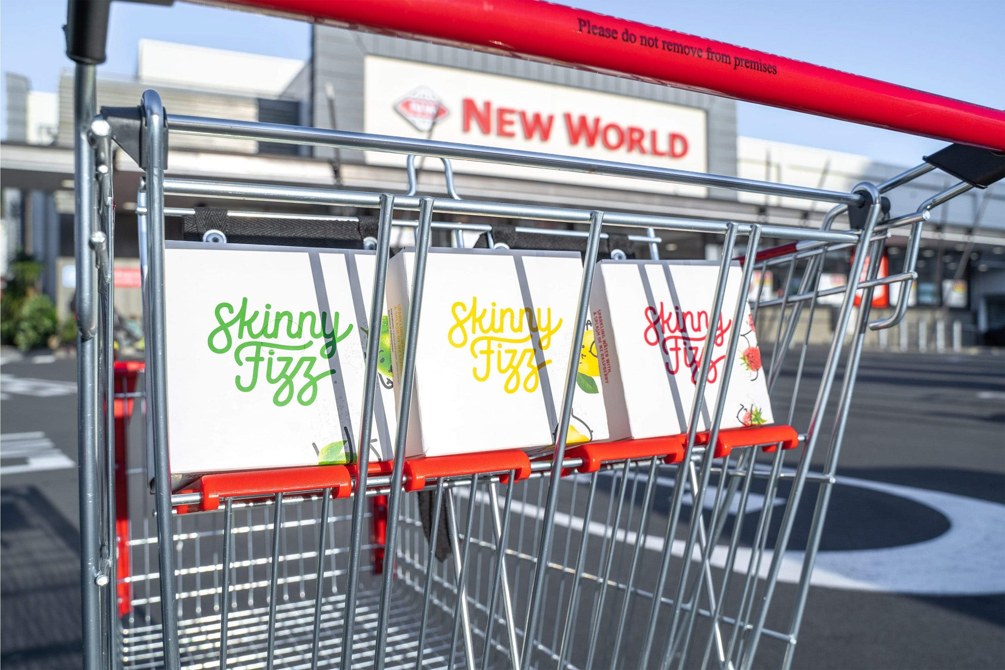 Skinny Fizz four pack in a New World supermarket trolley
