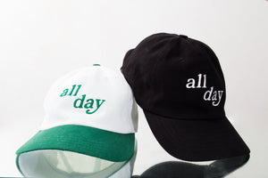 ALL DAY Dad Hat (White/Emerald Green)