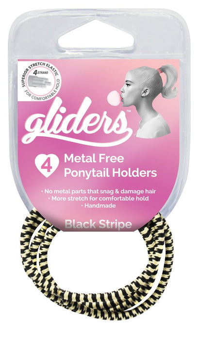 Gliders Premium Metal Free Ponytail Holders 4pk