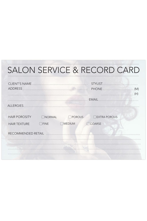 Professional Hairdressing Client Record Cards