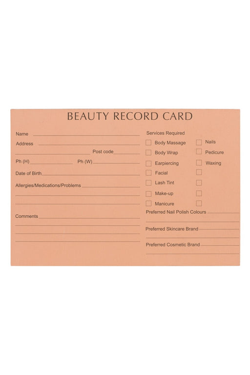 Professional Beauty Therapy Record Cards