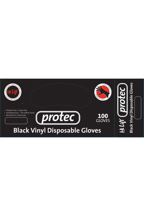 Hi Lift Protec Black Vinyl Disposable Gloves