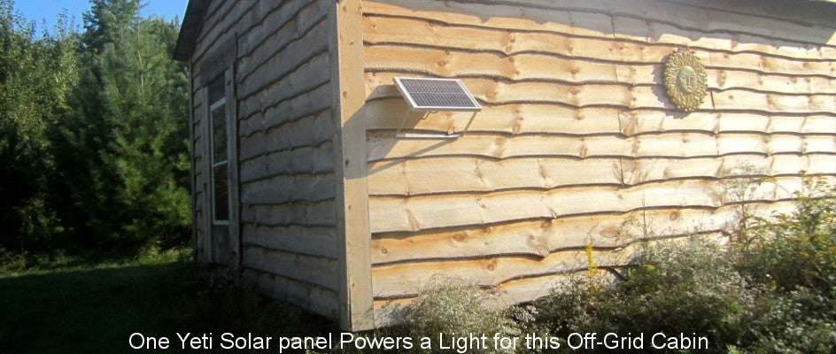 One Yeti Solar Panel powers a Light for this Off-Grid Cabin