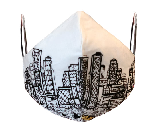 BOSTON EMBROIDERED SKYLINE FACE MASK