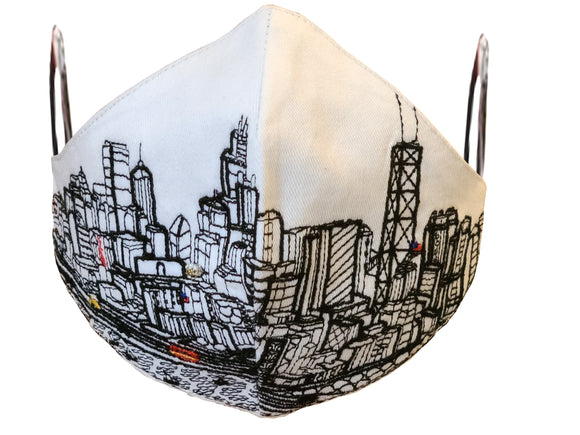 CHICAGO EMBROIDERED SKYLINE FACE MASK