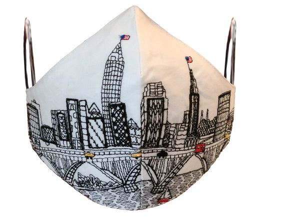 CLEVELAND EMBROIDERED SKYLINE FACE MASK