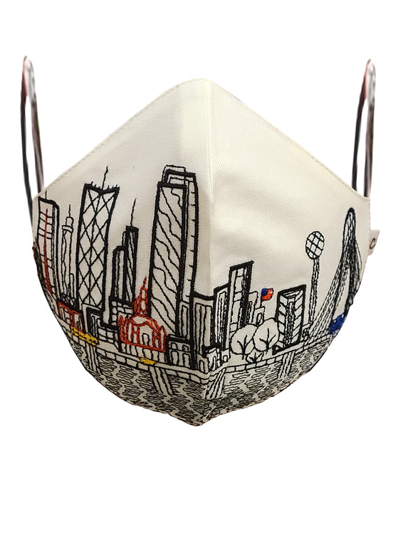 DALLAS EMBROIDERED SKYLINE FACE MASK