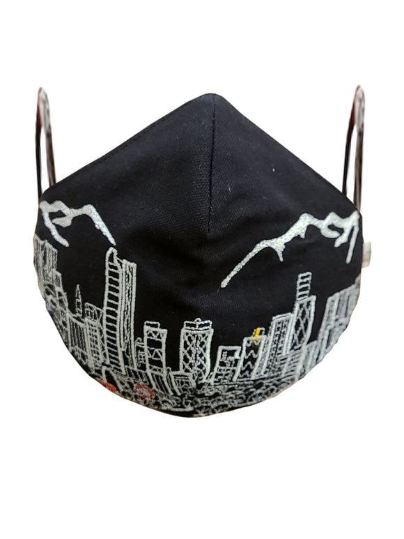 DENVER EMBROIDERED SKYLINE FACE MASK