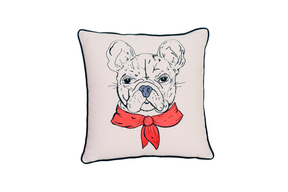 FRENCH BULL PORTRAIT DOG PILLOW