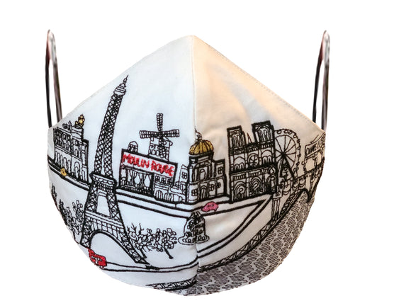 PARIS EMBROIDERED SKYLINE FACE MASK