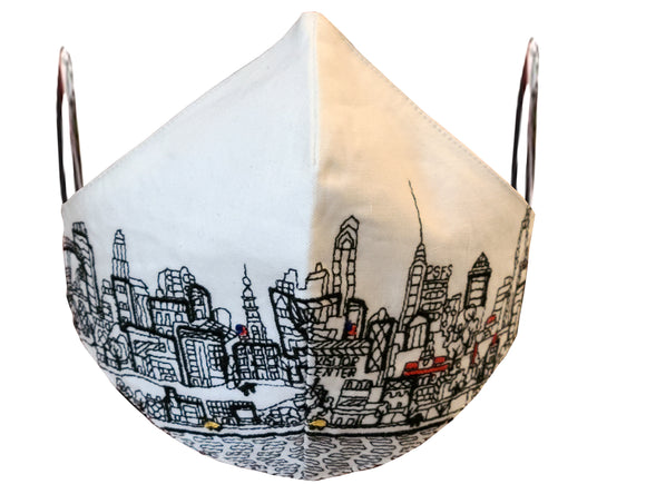 PHILADELPHIA EMBROIDERED SKYLINE FACE MASK