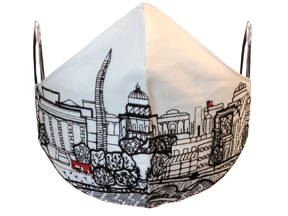 WASHINGTON DC EMBROIDERED SKYLINE FACE MASK