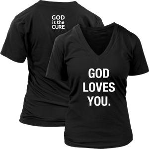 God Loves You Ladies V-Neck