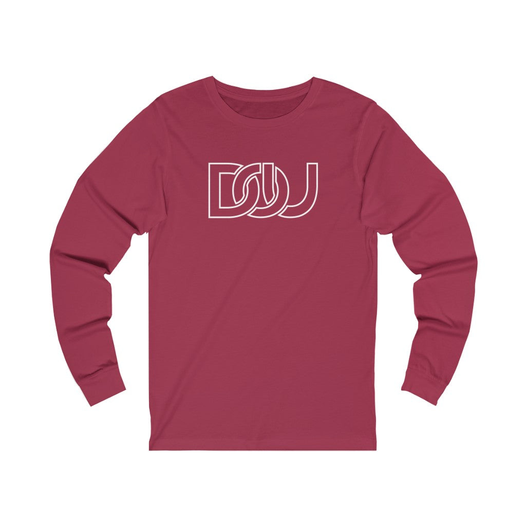 DOU White Outline Classic / Cardinal Red Long Sleeve