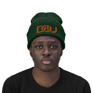 DOU Burnt Orange Text / Forest Green Embroidered Knit Beanie