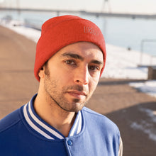 Load image into Gallery viewer, DOU Classic Knit Deep Orange Embroidered Beanie